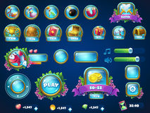 Item set Atlantis ruins GUI. Set of different items. Vector background  illustration screen to the computer game Atlantis ruins. Background image to create Royalty Free Stock Photos