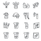 Items for aquarium hobby as line icons set 2. There are types of aquarium decoration, food for inhabitants, chemical substances Stock Image