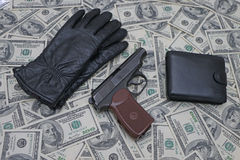 Items on the background of dollars Stock Photo