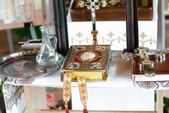 Items of baptism in the Church, Catholicism, the concept of Christianity.  royalty free stock image
