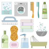 Items in the bathroom. Set of flat icons. Washing things Royalty Free Stock Image