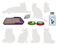 Items for cats. Tray. Shampoo. Bowl of food, water, mechanical clockwork mouse. Royalty Free Stock Photography