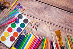 Items for children's creativity. Background Stock Photography