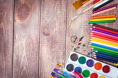 Items for children's creativity. Background Stock Photo