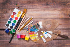 Items for children's creativity. Background Royalty Free Stock Photo