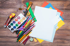Items for children's creativity. Background Royalty Free Stock Image