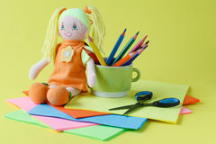 Items for children`s creativity, background Royalty Free Stock Photos