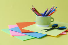 Items for children`s creativity, background Stock Photos