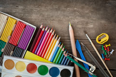 Items for children's creativity. Paints and pencils for children's creativity Royalty Free Stock Photos