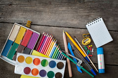 Items for children's creativity. Paints and pencils for children's creativity Royalty Free Stock Image