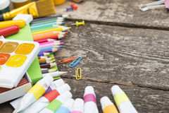 Items for children's creativity. On a wooden background royalty free stock images