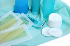 Items for cleanliness and hair-removing Royalty Free Stock Photography