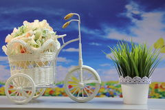 Items with colors. Spring mood with flowers and objects Royalty Free Stock Photo