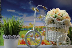 Items with colors. Spring mood with flowers and objects Royalty Free Stock Photos