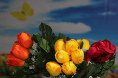 Items with colors. Spring mood with flowers and objects Stock Image