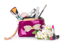 Items contained in the women's handbag Royalty Free Stock Images