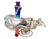 Items contained in the women's handbag Royalty Free Stock Image