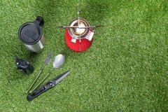 Items for cooking outdoors during extreme vacation, top view royalty free stock image