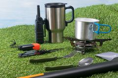 Items for cooking and snacking outdoors during extreme vacation stock image