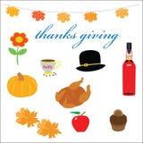 Items de la acción de gracias fijados Imagen de archivo
