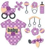 Items de la llegada del bebé ilustración del vector