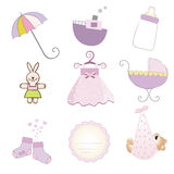 Items de la niña fijados en formato del vector Fotografía de archivo