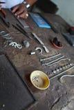 Items de plata de la joyería Foto de archivo