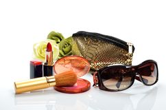 Items for decorative cosmetics, makeup, mirror and flowers Stock Photography