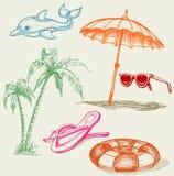 Items del día de fiesta de la playa del verano stock de ilustración