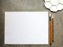 Items for drawing sumi-e, rice paper, Chinese brushes, ceramic p royalty free illustration
