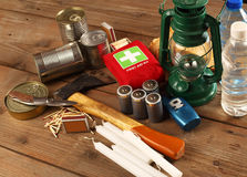 Items for emergency. On wooden table Stock Photography
