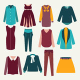 12 items of  female clothing Stock Photos