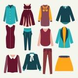 12 items of  female clothing Stock Photos