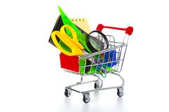 Free Items For School In A Shopping Cart Royalty Free Stock Photo - 125139015