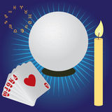 Items for fortune telling. Items used for fortune telling. Crystal sphere, candle, cards Stock Photos