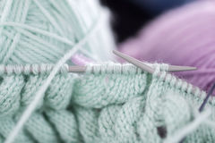 Items for knitting with a spokes close-up in different angles. Royalty Free Stock Image