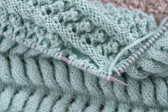 Items for knitting with a spokes close-up in different angles. Stock Images