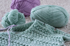 Items for knitting with a spokes close-up in different angles. Royalty Free Stock Photos