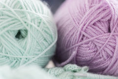 Items for knitting with a spokes close-up in different angles. Stock Photos