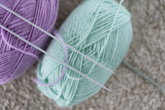 Items for knitting with a spokes close-up in different angles. Royalty Free Stock Photo