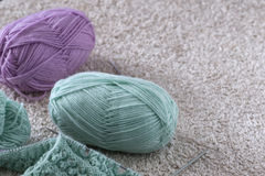 Items for knitting with a spokes close-up in different angles. Royalty Free Stock Photography
