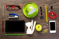 Items laid on the table, still life Stock Images