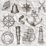 Items on the marine theme. vector illustration