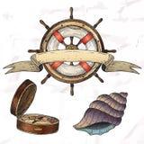 Items on the marine theme. Stock Image