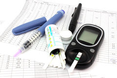 Items for daily monitoring. Of blood glucose stock images