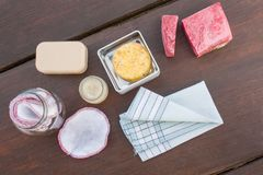 Items necessary for zero waste/less waste shopping and living. Beautiful natural items necessary for zero waste/less waste shopping and living, bathroom stock photos