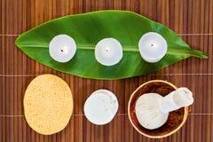 ύδωρ πετρών μπαμπού ανασκόπησης items orchid palm spa Στοκ Φωτογραφία