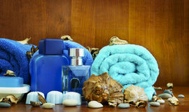 Items for personal hygiene. Personal hygiene items, utensils for taking a bath Royalty Free Stock Image