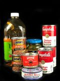 Items Purchased from a Grocery Store. On a black backdrop Royalty Free Stock Image