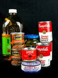 Items Purchased from a Grocery Store. On a black backdrop Royalty Free Stock Images